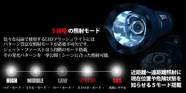 5つのモード LED懐中電灯