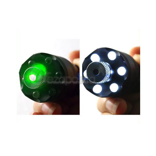 100mW グリーンレーザーポインター LED懐中電灯付