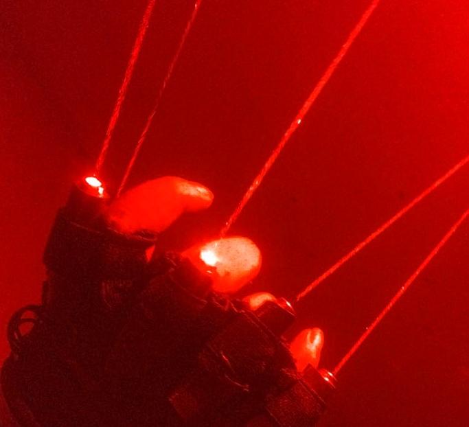 赤色手袋緑色レーザー