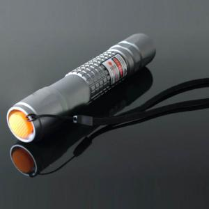 200mW レッドレーザーポインター レーザー懐中電灯 防水 調焦 点火可能 シルバー