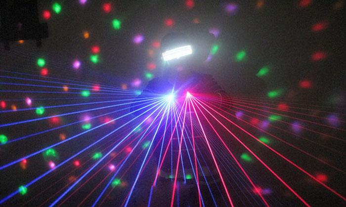 赤色レーザー+LEDライト付き発光眼鏡
