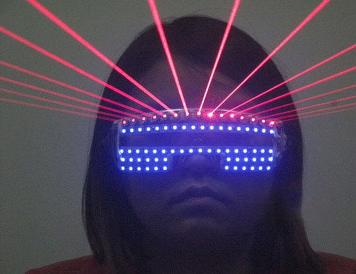 ブルー ledメガネLED発光眼鏡